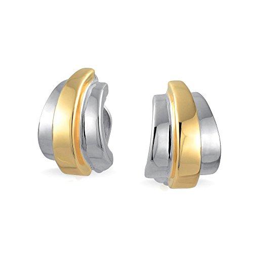 Geometrische Zwei Ton Garnelen Hälfte Hoop Ohrclips Ohrringe Poliert 14K Gold Versilbertes Messing