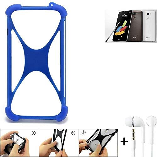 K-S-Trade Bumper LG Stylus 2 DAB+ Schutzhülle Handyhülle Silikon Schutz Hülle Cover Case Silikoncase Silikonbumper TPU Softcase Smartphone, Blau (1x), Headphones