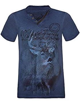 Hangowear Moser Trachten Trachtenshirt Blau Uberto 001930, Material Baumwolle