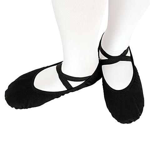Skyrocket Flying Demi-pointes en toile - bi-semelle en cuir - danse classique - Noir (pour les enfants Enfants et adultes, EU 29 - 44) (34)