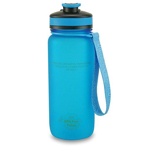 SMARDY Tritan Botella de Agua para Beber Azul - 650ml - de plástico sin BPA - Tapa de un Flip Top - fácil de Abrir - ecológica - Reutilizable