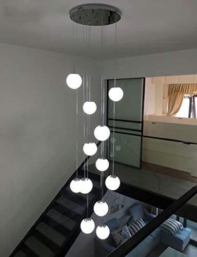 12 glaskugeln treppenhaus kronleuchter moderne pendelleuchten für villa kronleuchter duplex treppe lange kronleuchter led, 50x250 cm groß (größe : A)