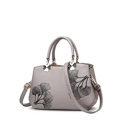 NICOLE&DORIS Donne Fiori Superiore Handle Handbags Borsa a tracollaBorsa Crossbody Totalizzatore Le signore cartella PU Pelle Foglia Nera Grey Foglia