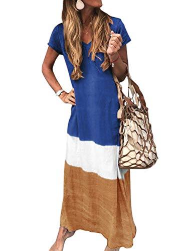 Minetom Sommerkleider Damen Kurzarm Kleider Casual Loose V-Ausschnitt Strandkleider Farblock Boho Maxikleider Böhmen Baumwolle Leinen Kleid A Blau DE 34