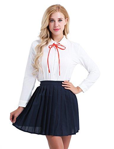 Girl School Uniform Frauen Anime (CHICTRY Damen Kostüm Cosplay Schulmädchen Uniformen Anzug Weiß Langarm-Shirt mit Marineblau Faltenrock Set Outfit Uniform Set Dessous Nachtwäsche Gr.S M L XL Weiß&Marineblau Small)