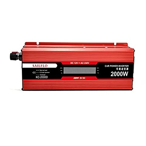 2000W Car Power Inverter DC 12V to AC 220V Vehicle Converter Car Inverter Power Supply Switch On-board Charger