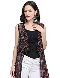 24d577a070a Serein Women s Black Geometric Print Georgette Sleeveless Shrug Long Jacket