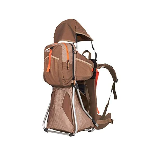 MONTIS HIKE, Premium Back Baby/Child Carrier, Up to 25kg, (mocha) M MONTIS OUTDOOR 89cm high, 37cm wide | up to 25kg | various colours | 28L seat bag Laminated and dirt-repellant outer material | approx. 2.2kg (without extras) Fully-adjustable, padded 5-point child's safety harness | plush lining, raised wind guard, can be filled from both sides | forehead cushion 2