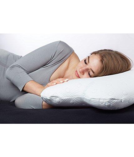 Visco Coussin ACAMAR | Oreiller cervical orthopédique et ergonomique | Housse avec thermo-régulation | Mousse viscoélastique | Dormir sur CÔTÉ image 2