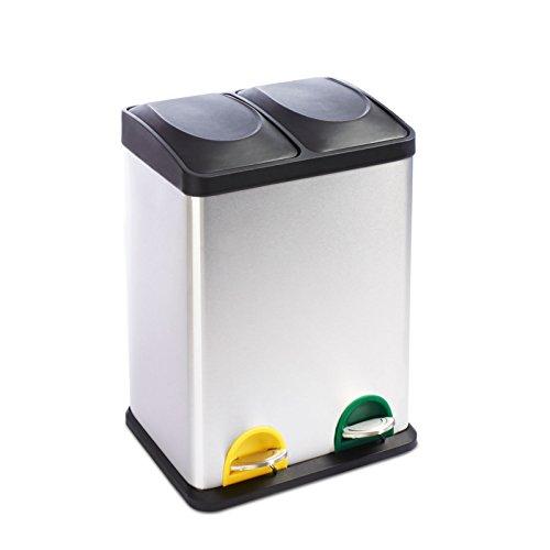 casa pura Mülleimer Trennsystem Brandon | Testurteil Gut | Treteimer aus Edelstahl | Abfalleimer für die Mülltrennung in der Küche, Mülltrennsystem | 2 Größen (2 Kammern, 36L Fassungsvermögen)