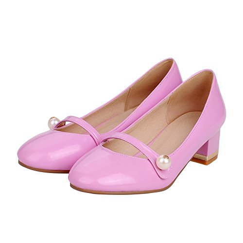 Voguezone009 Femmes Pull Toe Talon Bas Shimmer Pure Pink Ballet Chaussures