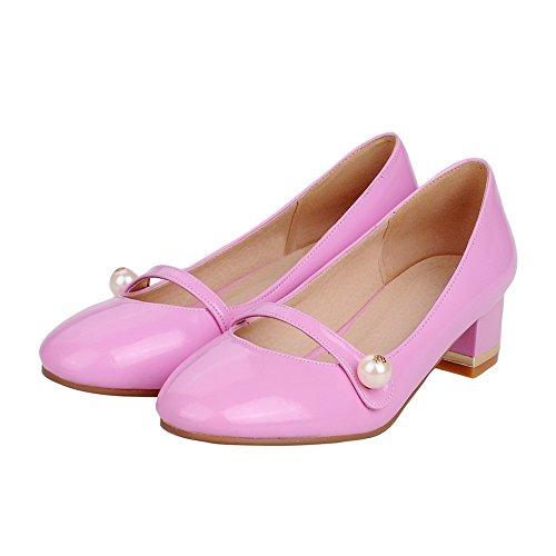 VogueZone009 Damen Ziehen Auf Pu Leder Rund Zehe Niedriger Absatz Rein Pumps Schuhe Pink