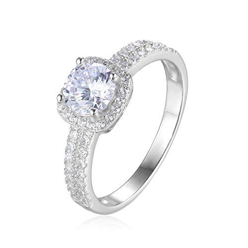 JewelryPalace 1ct Zirkonia Jubiläum Versprechen Halo Verlobungsring 925 Sterling Silber