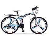 GPAN Pliable Vélo VTT 24/26 Pouces Vélo Extérieur Compatible à 24 Vitesses Double Freins A Disque,Blue,26