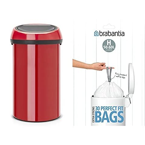 Brabantia Touch Bin with Bin Liners, 60 L - Passion Red