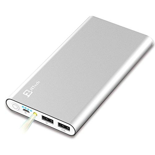 JETech Externe Akku 10,000mAh 2-Ausgang 5V 2.1A für iPhone, iPad, Samsung Galaxy und weitere, Silber