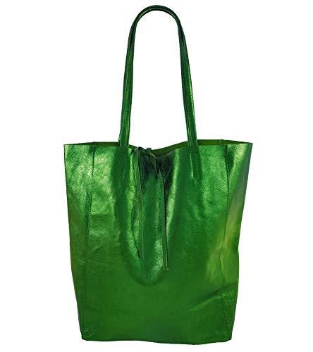 Freyday Damen Echtleder Shopper mit Innentasche in vielen Farben Schultertasche Henkeltasche Metallic look (Grün Metallic) -