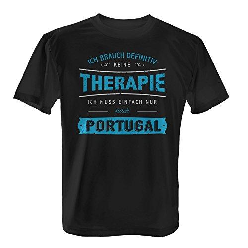 Fashionalarm Herren T-Shirt - Ich brauch keine Therapie - Portugal | Fun Shirt mit Spruch für Strand Urlaub Reise Lissabon Madeira Algarve Surfen Schwarz