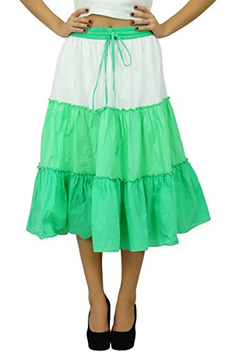 Bimba coton évasé Boho été jupe taille élastique mi-mollet volant jupes féminin Vert