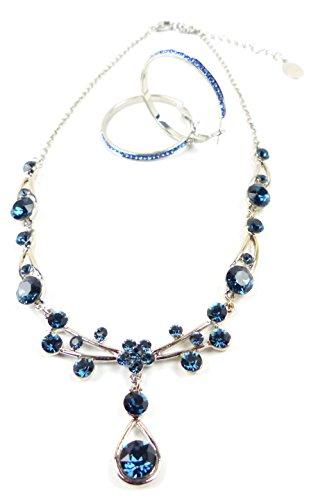 Tillberg Schmuck Set Damen Halskette Ohrringe Swarovski Steinen Ozean Blau