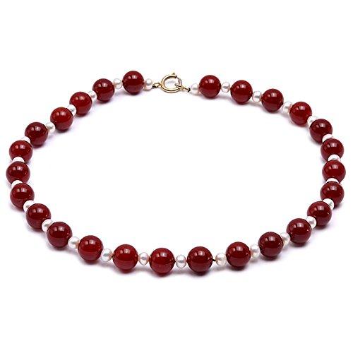 90b13de77b9c JYX - Collar de ágata DE 14,5 mm, Redondo, ágata roja y Perla de Agua Dulce  Blanca, 58,4 cm