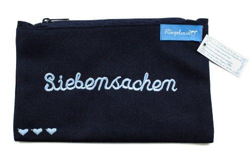 Kosmetiktäschchen/Schminkbeutel/Kulturtasche *Siebensachen* dunkelblau-verschiedene Farbvarianten100% Baumwolle von Ringelsuse