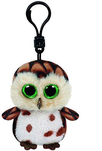 Carletto Ty 35005 - Sammy clip, búho con ojos brillo Glubschis, Beanie Boos, 8,5 cm, de color marrón