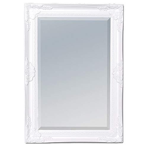 LEBENSwohnART Wandspiegel LEANDOS 70x50cm pur-weiß barock pompös Spiegel Facette Holzrahmen