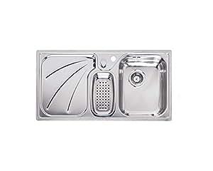 Reginox President 1.5 Bowl Stainless Steel Kitchen Sink Right Handed Drainer by Reginox