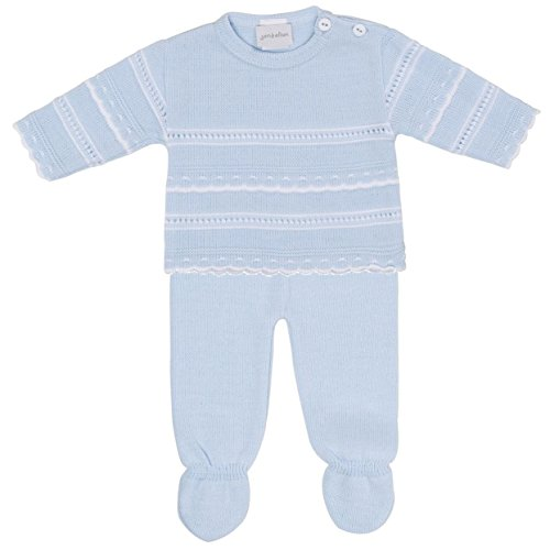 New In Spanish Baby Special Occassion 2 Piece Knitwear (6-12months, Sky Blue)
