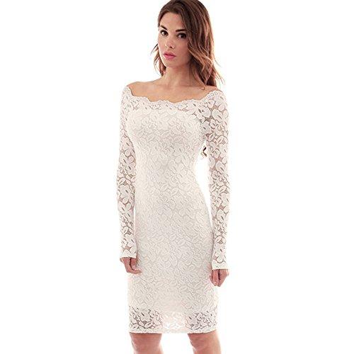 AONER- Mujer Vestido Corto Bodycon Elegante de Encaje Blanco con Manga Larga de Coctel de Moda de Noche para Fiesta Ceremonia Boda Mini Dress (M)