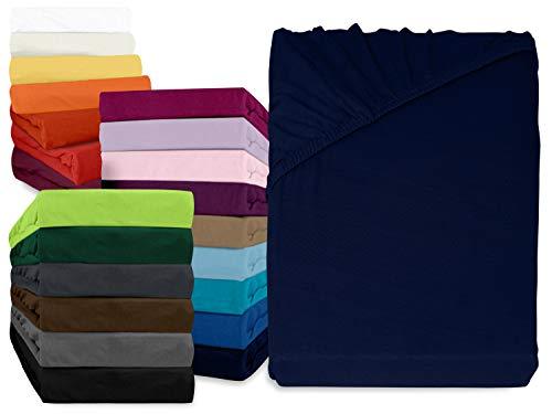 npluseins klassisches Jersey Spannbetttuch - erhältlich in 34 modernen Farben und 6 verschiedenen Größen - 100% Baumwolle, 70 x 140 cm, navyblau