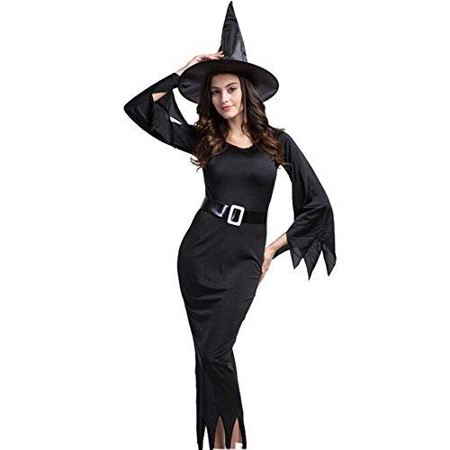 Kostüme Halloween-Hexe-Set für Damen / Damen Abendkleid-Leistungskleidung Schwarz XL (Catrina Männer Kostüm)