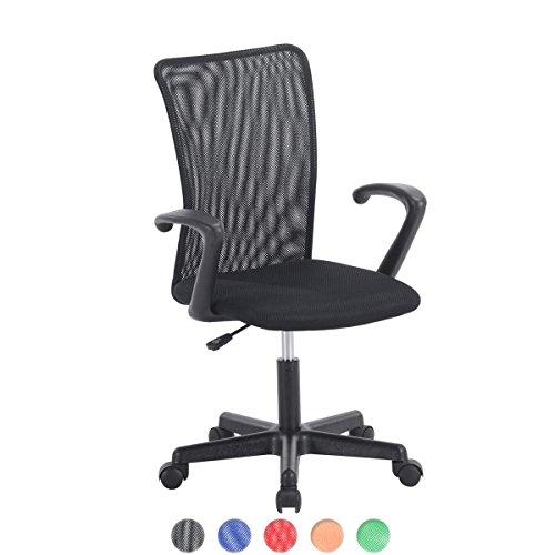KAYELLES Chaise de Bureau Enfant LASER, Fauteuil de bureau enfant Confort (Noir)