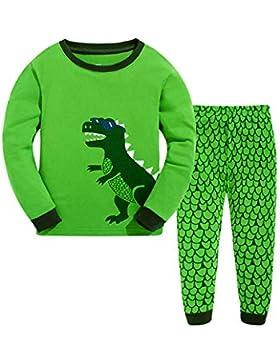 LitBud niños Pijamas Conjunto 100% algodón Dinosaurio Ropa de Dormir Pijamas Largos Pjs Conjunto tamaño para niños...
