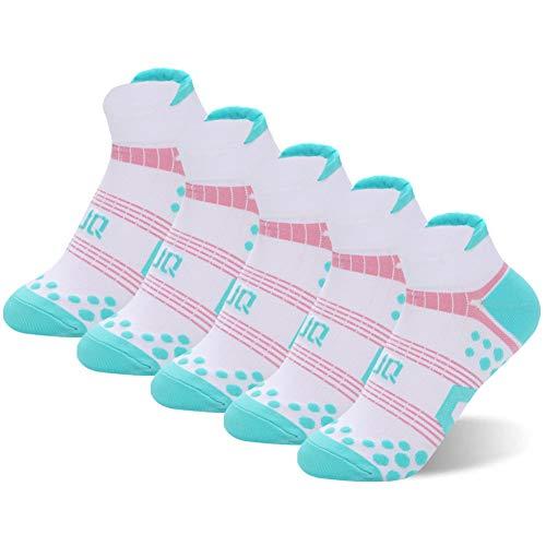 Super 60 Quarter Socken (Unbekannt J&Q Copper lnfused Knöchelsocken für Damen, Damen, Green/Pink-5 Pairs, Shoe 4-9 US)