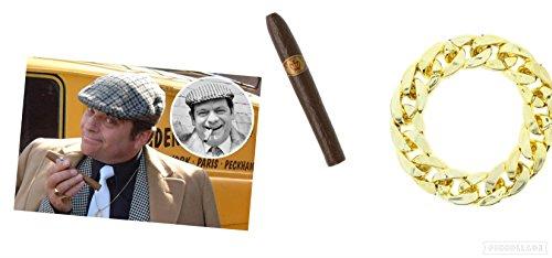 Seemeinthat Delboy Set Kappe Gold Armband Zigarrenring Zubehör Fasching Fools and Horses TV Charakter Kostüm Zubehör - Charakter Kostüm Zubehör