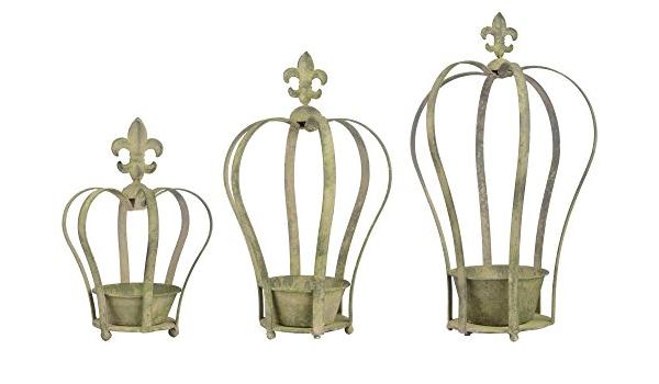 15,6 x 17,3 x 24,7 cm Esschert Design Aged Metal Gr/ün 3er Topfset Krone aus veraltetem Metall