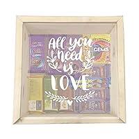 "YaYa Cafeâ""¢ Holi Gift Pack Box Chocolate Gift Hampers Happy Holi Engraved Wooden Gift Box - Kaju Katli Chocolates - Jumbo"
