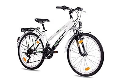 """24"""" Zoll CITYBIKE MÄDCHENFAHRRAD JUGENDRAD KCP TERRION LADY mit 18 Gang SHIMANO schwarz weiss"""