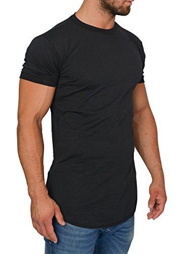 MMC Oversize Shirt Herren - Basic T-Shirt Männer - Kurzarm Longshirt (S, Schwarz)