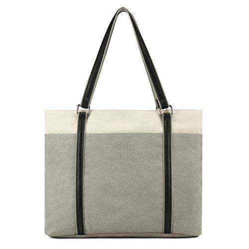 """Plambag Canvas PU Leder Handtasche Tote Schultertasche für 15.4"""" Laptop (Notebook-handtasche)"""