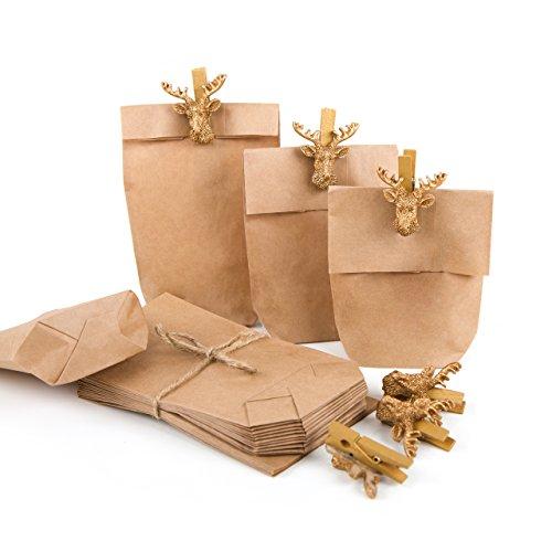 Verpackung HIRSCH-GEWEIH: 6 Mini-Papiertüte braun natur 15 x 9 x 3,5 cm + 6 Deko-Klammern Holzklammer HIRSCH-KOPF GOLD Verpackung Geschenke Papierbeutel Geschenkbeutel Weihnachten
