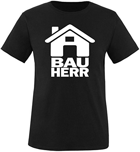 Luckja Bauherr Herren Rundhals T-Shirt Schwarz/Weiss