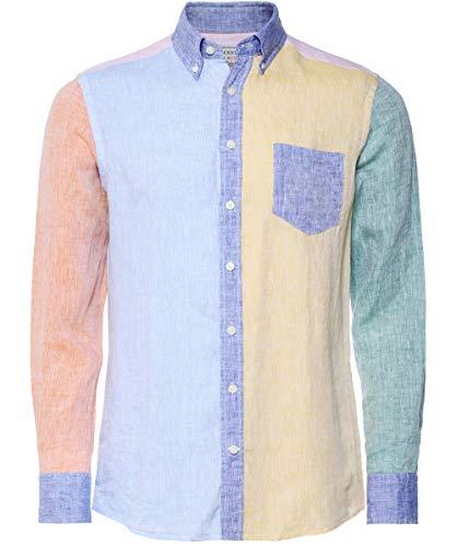 Hackett Panel Linen Camicia Uomo Multicolore XX Large