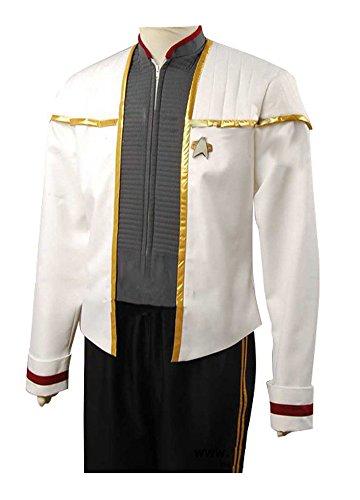 Elecos Star Trek Insurrection Nemesis Captain Picard Mess Cosplay Kostüm Herren Weiß XXXL