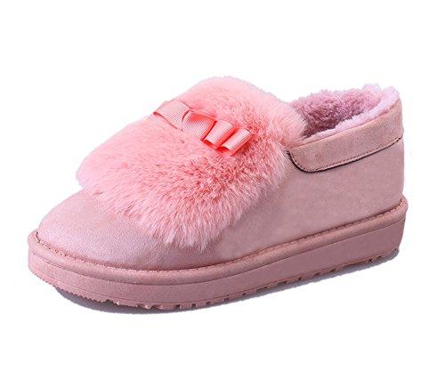 Fortuning's JDS Winter Spleißen Pelz Bogen flache dicke Bohne Schnee Aufladungen der Frauen Pink