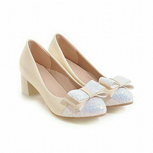 Mee Shoes Damen chunky heels Pailletten runde Pumps Beige