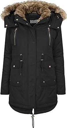 Urban Classics Damen Ladies Imitation Fur Parka, Schwarz (Black 7), X-Small