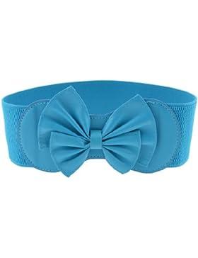 Señoras cielo Azul Bowknot Decoración Prensa Stud Botón Elástico Cintura Cinturón Cintura